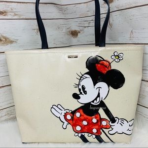KATE SPADE MINNIE MOUSE FRANCIS TOTE BLACK WHITE